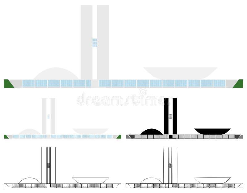 El congreso nacional del Brasil coloreó y esquema solamente ilustración del vector