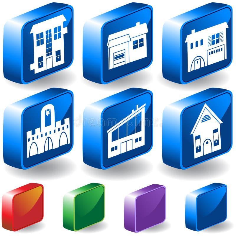 El conjunto de 3D se dirige/de iconos del edificio libre illustration