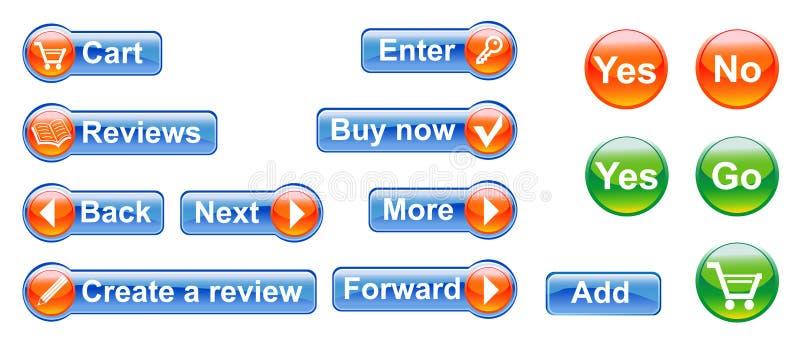 El conjunto de botones stock de ilustración