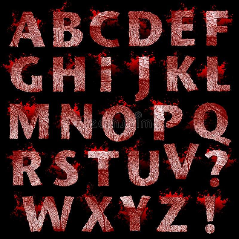 El conjunto de la huella digital sangrienta pone letras a las ilustraciones aisladas libre illustration