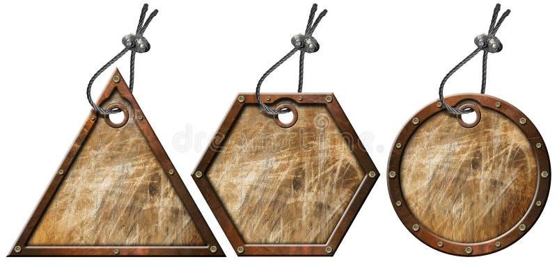 El conjunto de metal de Grunge marca - 3 items con etiqueta ilustración del vector