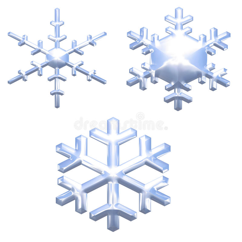 El conjunto de nieve del efecto del metal del cromo forma escamas sobre blanco libre illustration