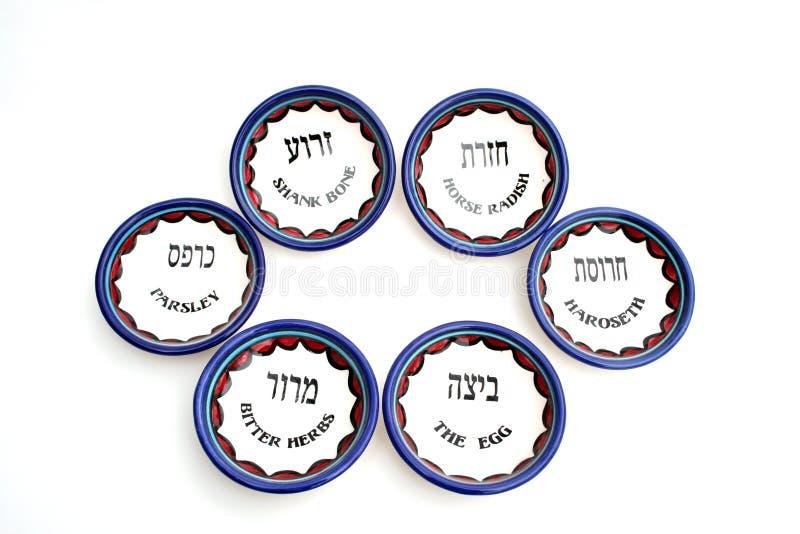 El conjunto de seis platos del Passover fotos de archivo