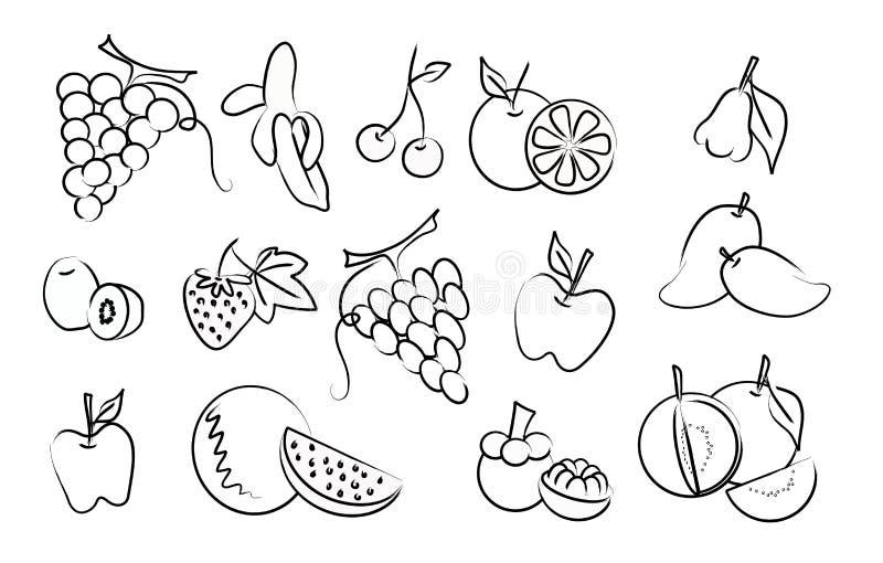 El conjunto del vector del gráfico de la fruta stock de ilustración
