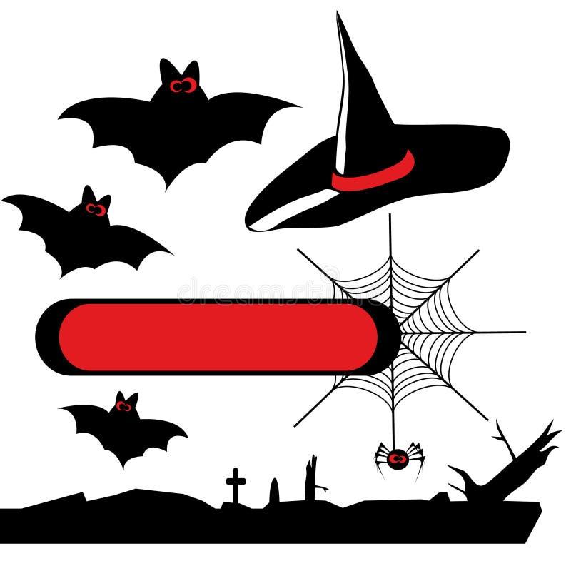 El conjunto del vector víspera de Todos los Santos siluetea 2 stock de ilustración