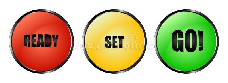 El conjunto listo colorido va los botones stock de ilustración