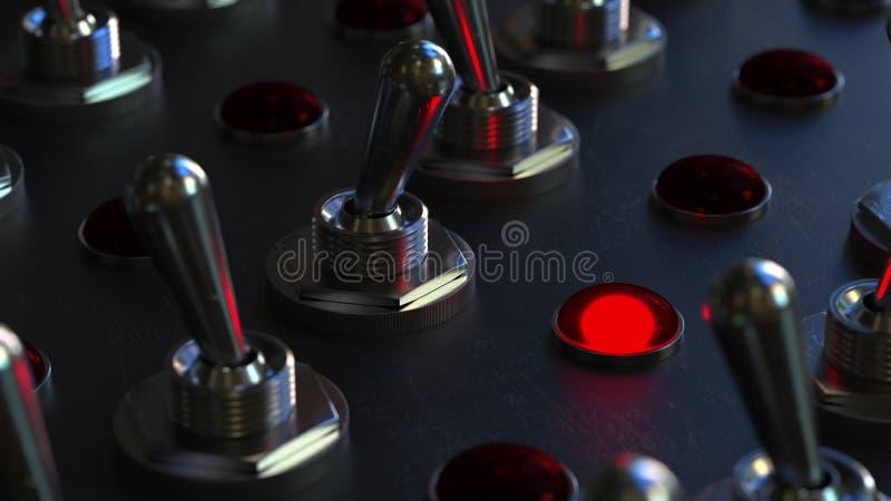 El conmutador de la transferencia en un panel de control, luz roja se gira representación 3d fotos de archivo