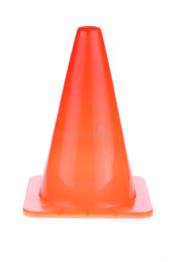 El cono anaranjado utilizó la señal de peligro bajo área de construcción fotos de archivo libres de regalías