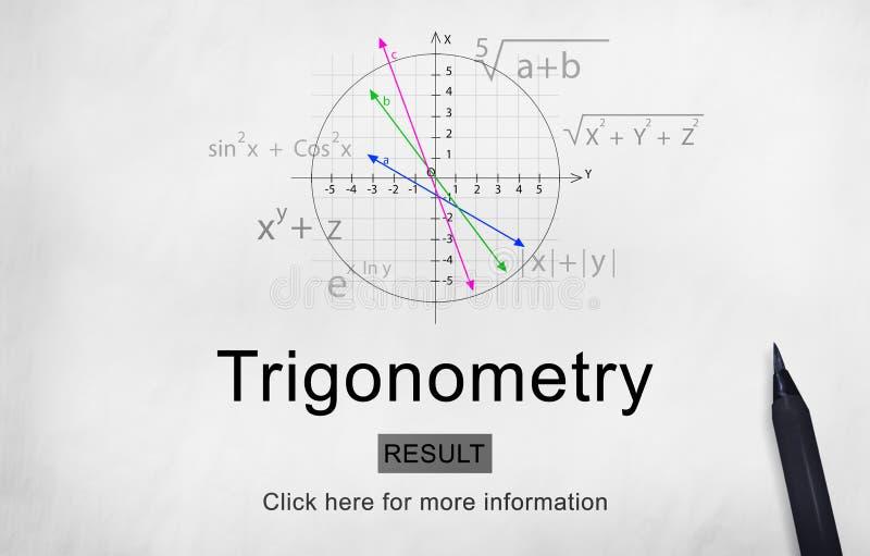 El conocimiento de la ecuación de la álgebra de la trigonometría aprende concepto imagen de archivo
