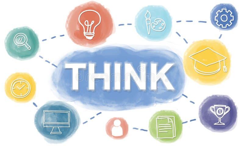 El conocimiento del intercambio de ideas creativo se imagina para pensar concepto libre illustration