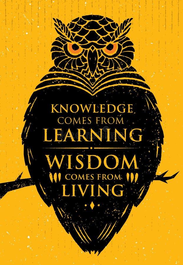 El conocimiento viene del aprendizaje La sabiduría viene de la vida Cita creativa inspiradora de la motivación Owl Vector Banner stock de ilustración