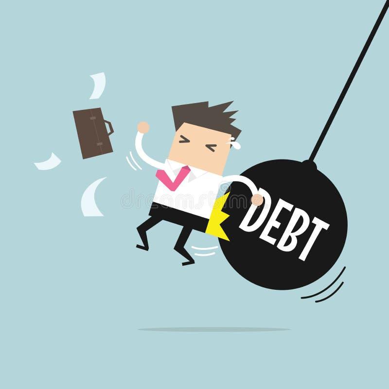 El conseguir del hombre de negocios empujó por el péndulo enorme con deuda del mensaje libre illustration