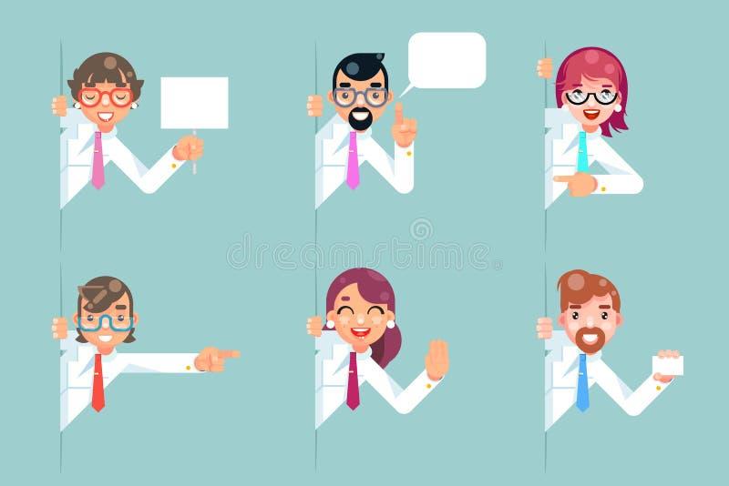 El consejo de la consulta del negocio de la ayuda de la ayuda de la historieta de los oficinistas que miraba hacia fuera los cara ilustración del vector