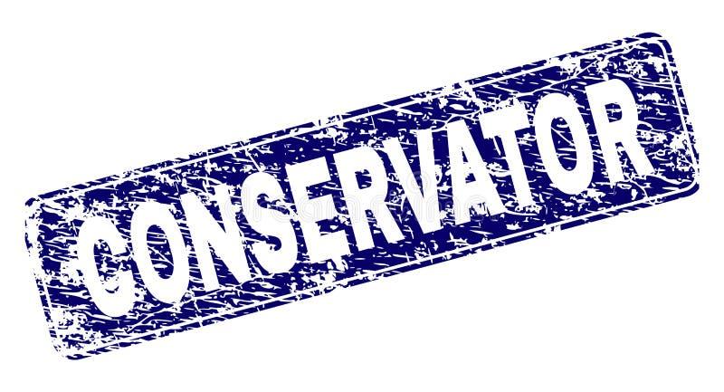 El CONSERVADOR rasguñado enmarcó el sello redondeado del rectángulo stock de ilustración