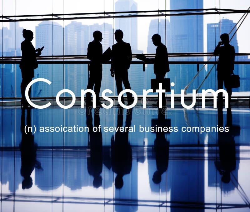 El consorcio Alliance combina concepto cooperativo del grupo foto de archivo