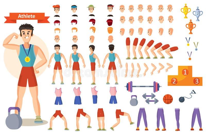 El constructor de la historieta del vector del deportista del atleta de las partes del cuerpo del carácter del hombre y de las ac stock de ilustración