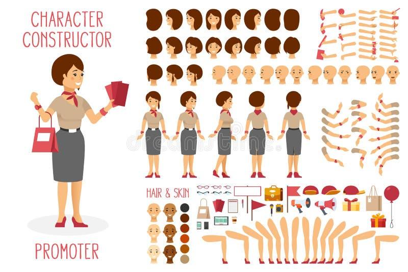 El constructor del carácter del vector fijó para el promotor de la mujer en estilo plano libre illustration