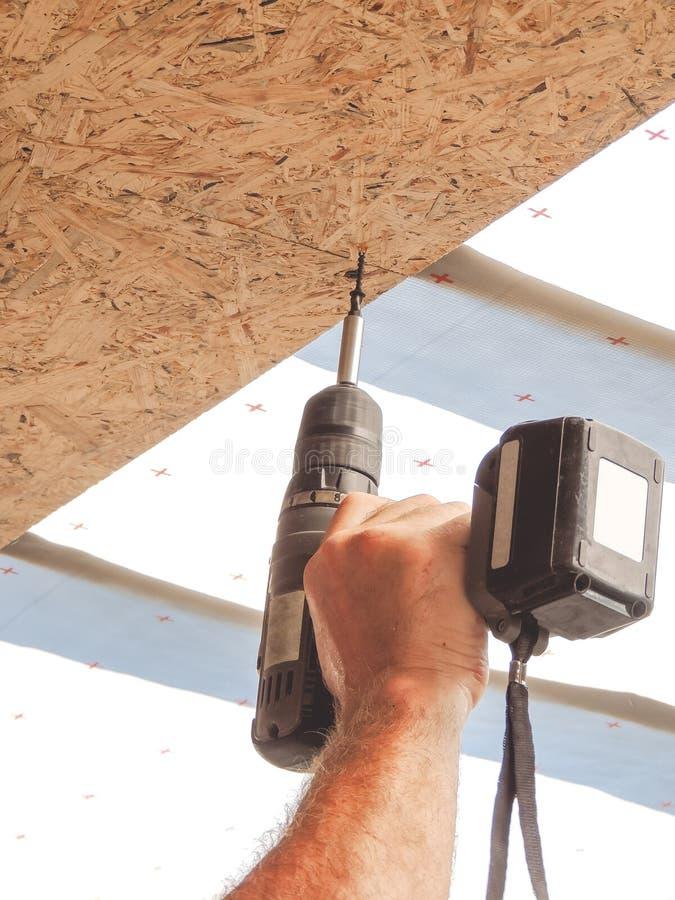 El constructor tuerce el tornillo en la hoja de OSB en el techo fotos de archivo