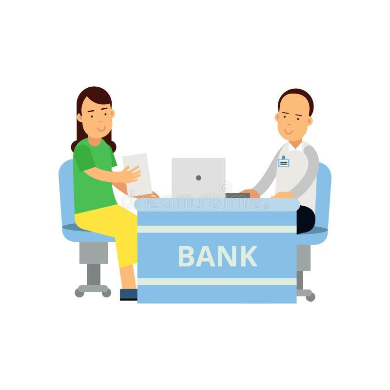 El consultor de las actividades bancarias aconseja al cliente en asuntos financieros Sirva el carácter en la camisa y los pantalo libre illustration