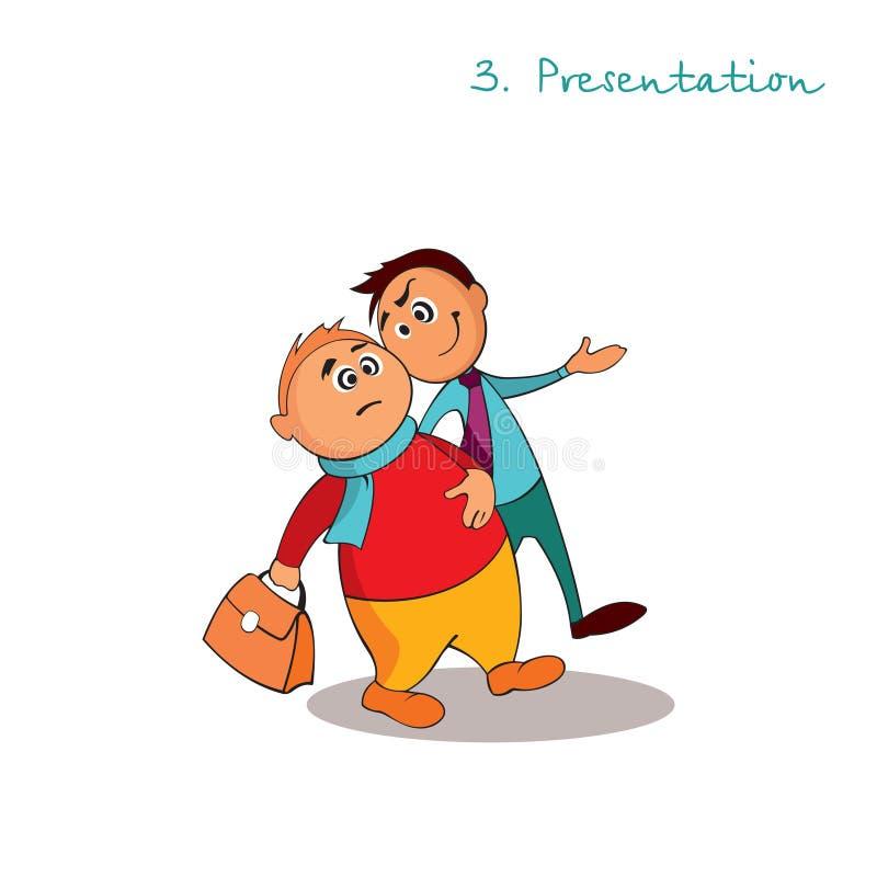 El consultor del encargado está dando una presentación Reglas de ventas acertadas Paso 3 libre illustration