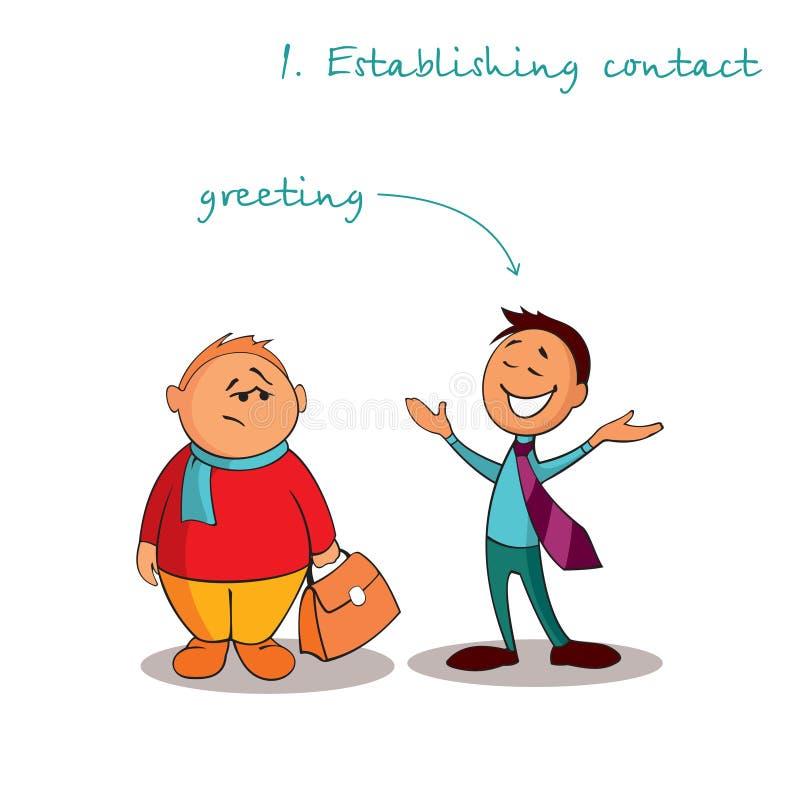 El consultor del encargado está encontrando a un cliente Reglas de ventas acertadas Paso 1 libre illustration