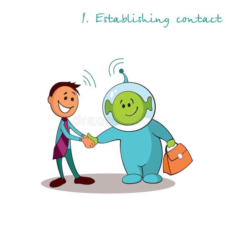 El consultor del encargado está estableciendo el contacto con el cliente Reglas de ventas acertadas Paso 1 stock de ilustración