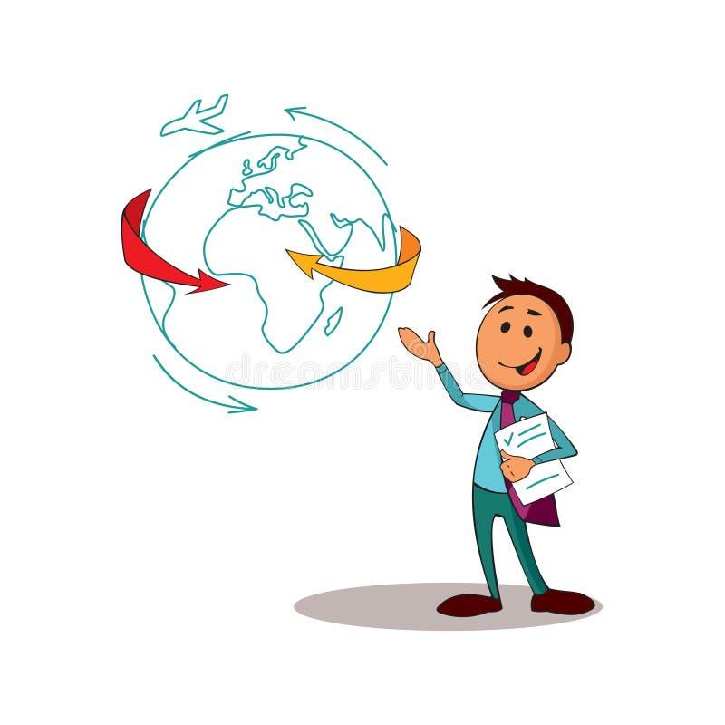 El consultor del encargado representa las capacidades de la compañía libre illustration