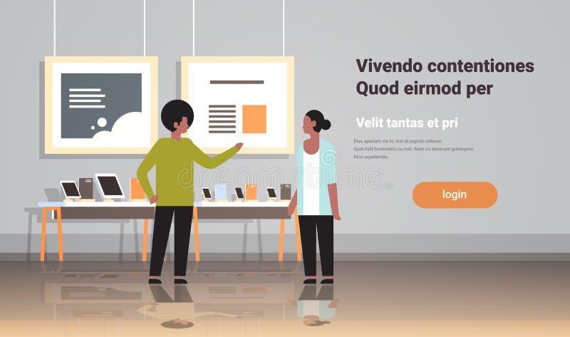 El consultor del hombre proporciona al cliente de la mujer del asesoramiento de experto en ordenador portátil interior de la calc stock de ilustración
