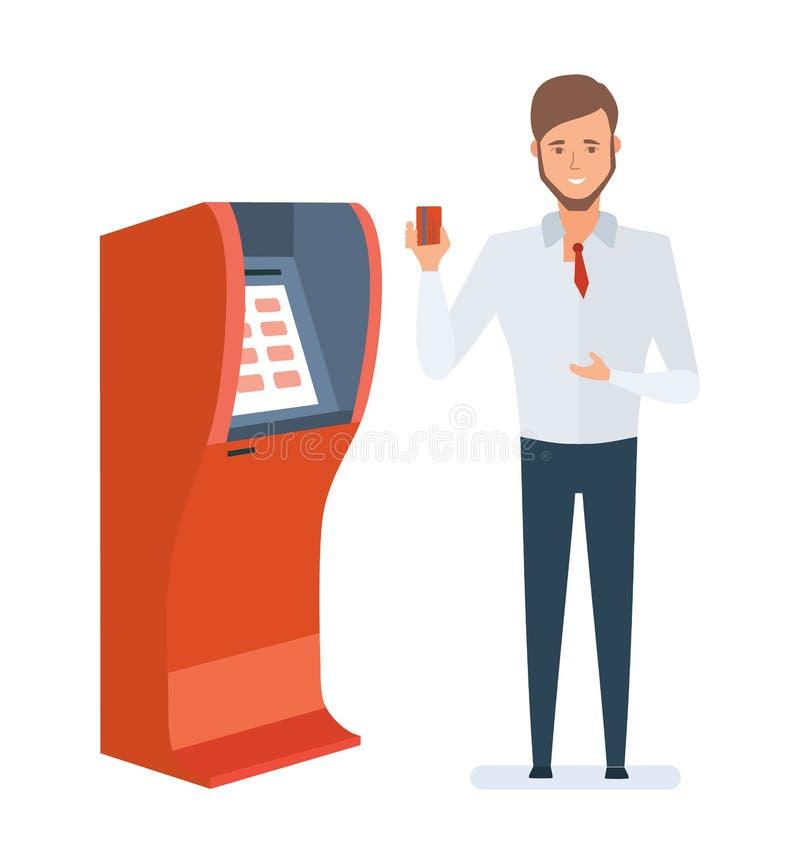 El consultor en el banco, demostraciones calificadas tarjeta, muestra cómo utilizar libre illustration