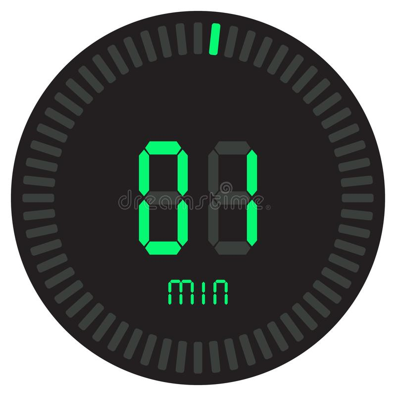 El contador de tiempo digital 1 minuto cronómetro electrónico con un dial de la pendiente que enciende el icono del vector, el re libre illustration