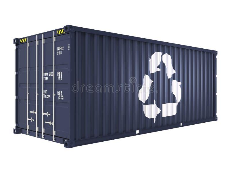 El contenedor para mercancías azul con recicla la marca stock de ilustración