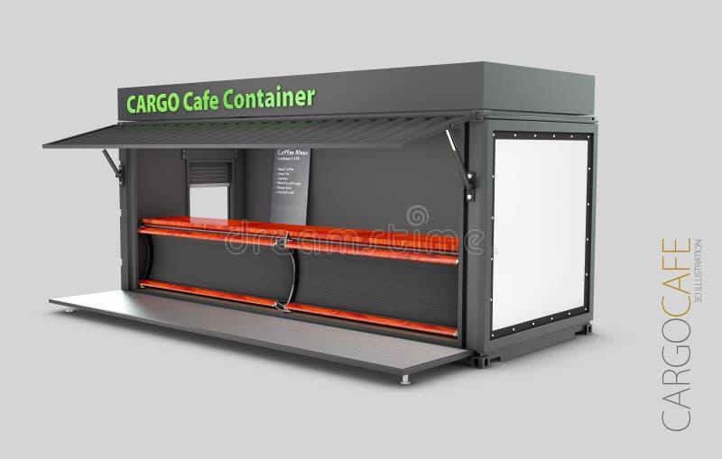 El contenedor viejo convertido en el café, ejemplo 3d aisló blanco stock de ilustración