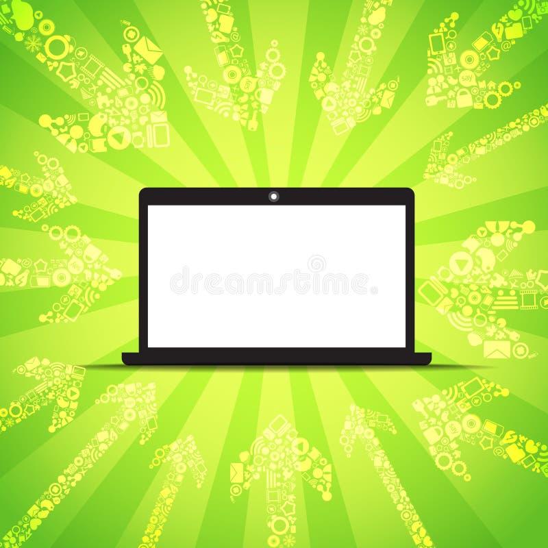 El contenido de los media va a la computadora portátil moderna stock de ilustración