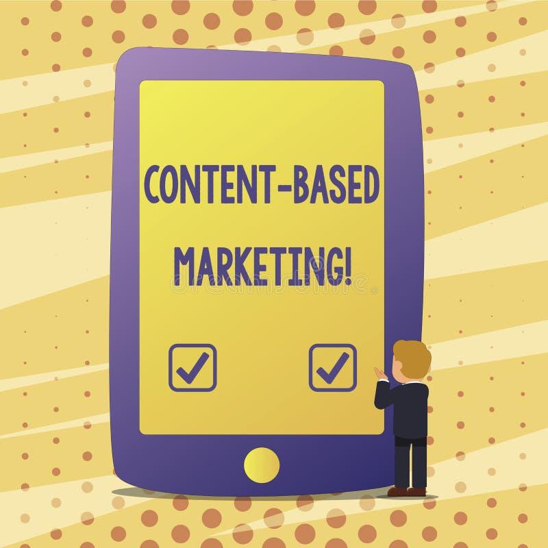 El contenido del texto de la escritura basó el márketing Publicidad del significado del concepto que crea datos valiosos de distr stock de ilustración