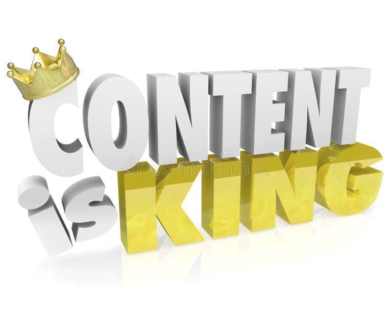 El contenido es valor en línea de la corona de las letras de rey Quote Saying 3D ilustración del vector