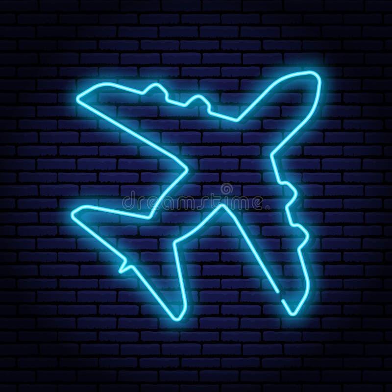 El contorno de la lámpara de neón formó los aviones de pasajero, visión superior Con resplandor azul en el fondo de la pared de l stock de ilustración