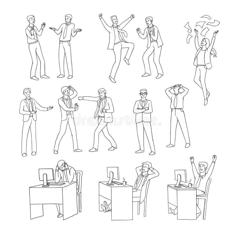 El contorno determinado del negro del bosquejo del vector aisló el ejemplo de hombres de negocios Diversas emociones en profesion stock de ilustración