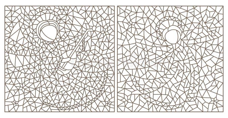 El contorno fijó con los ejemplos con los ángeles abstractos, esquemas oscuros en el fondo blanco ilustración del vector
