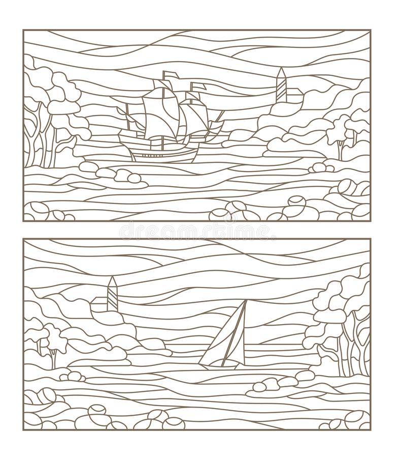 El contorno fijó con los ejemplos de los paisajes marinos del vitral, del velero y del faro en bahía rocosa en el fondo del mar ilustración del vector