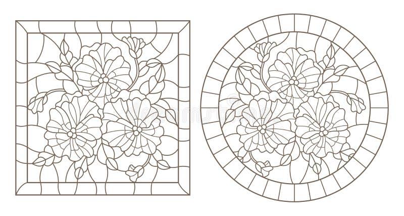 El contorno fijó con los ejemplos de vitrales con los pansys en los marcos, contornos oscuros en un fondo blanco, alrededor y re ilustración del vector
