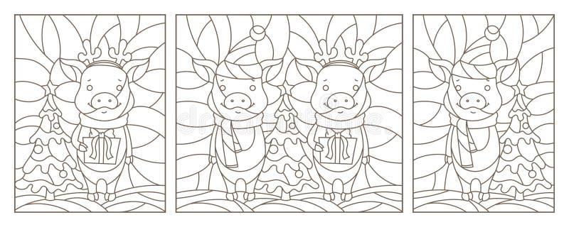 El contorno fijó con los ejemplos por el Año Nuevo, cerdos divertidos, contornos oscuros en un fondo blanco stock de ilustración