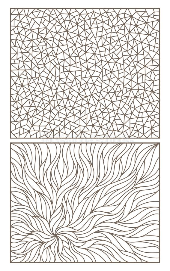El contorno fijó con el vitral abstracto del contorno de los fondos, imitación del vidrio finalmente roto ilustración del vector