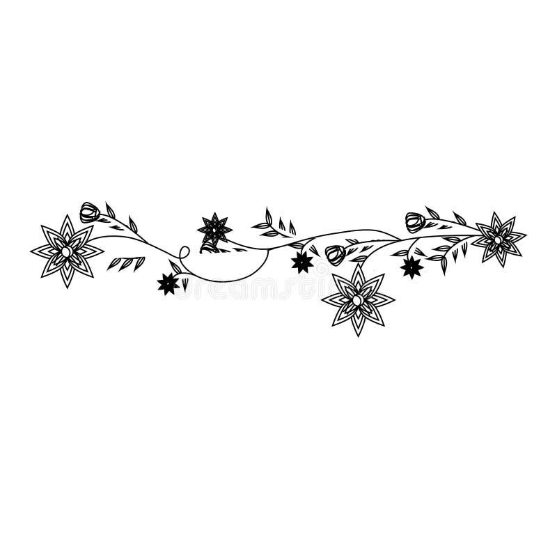 El contorno monocromático con la enredadera con la violeta florece diseño floral libre illustration