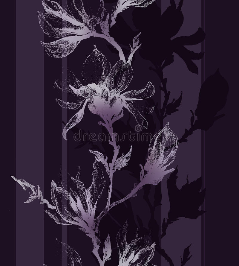 El contorno violado claro de la magnolia florece en una ramita y una vertical libre illustration