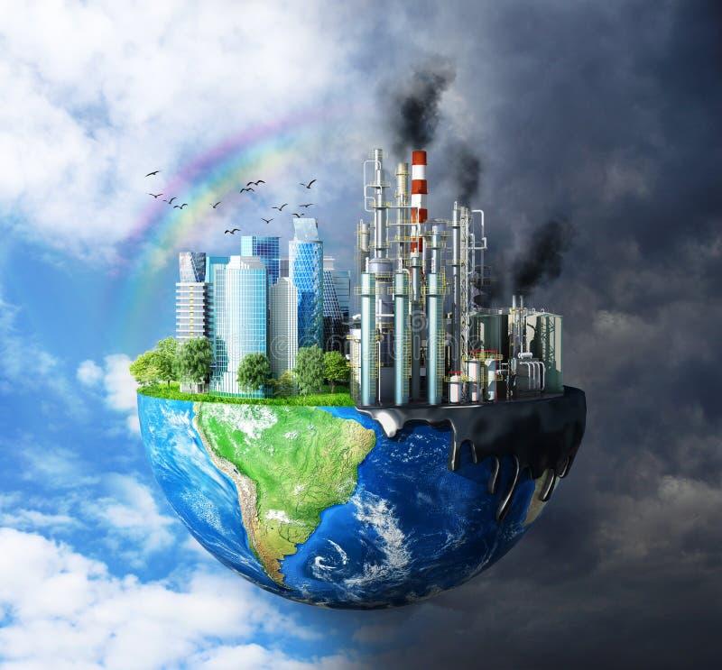 El contraste entre naturaleza pura, cielo brillante, árboles y ciudades contaminadas, con grandes edificios y stock de ilustración