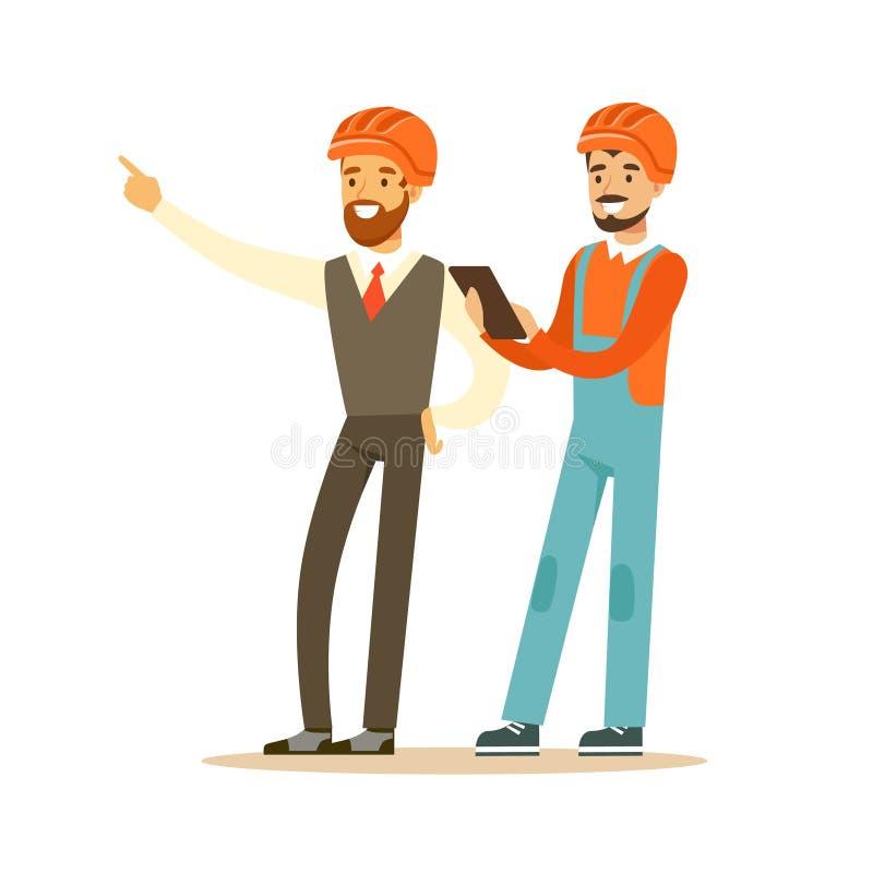El contratista y el arquitecto que discuten el proyecto, los caracteres coloridos vector el ejemplo stock de ilustración