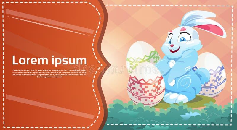 El control del conejo de Pascua adornó la tarjeta de felicitación colorida de los símbolos del día de fiesta del huevo libre illustration