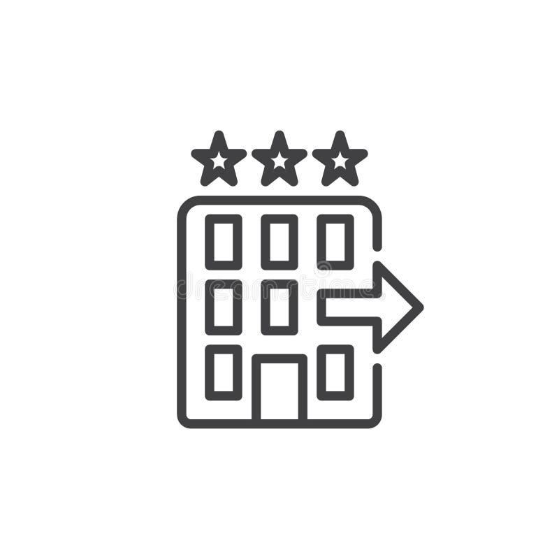 El control del hotel hacia fuera alinea el icono libre illustration