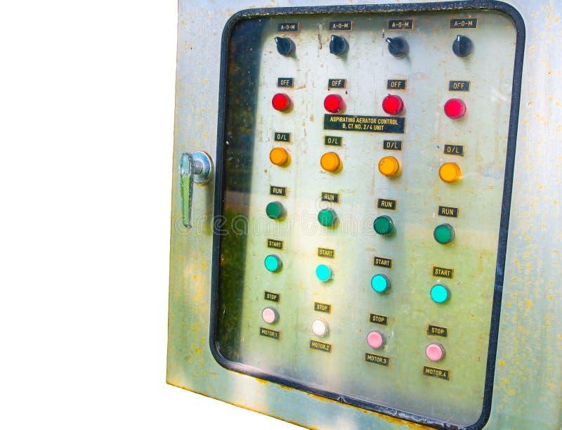 El control eléctrico de aspiración del tablero de interruptor del aerador, imagen muestra un botón de comando aislado en el fondo foto de archivo