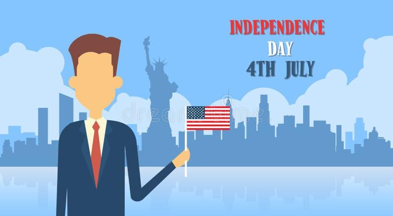 El control Estados Unidos del hombre de negocios señala Día de la Independencia del fondo por medio de una bandera de Nueva York ilustración del vector